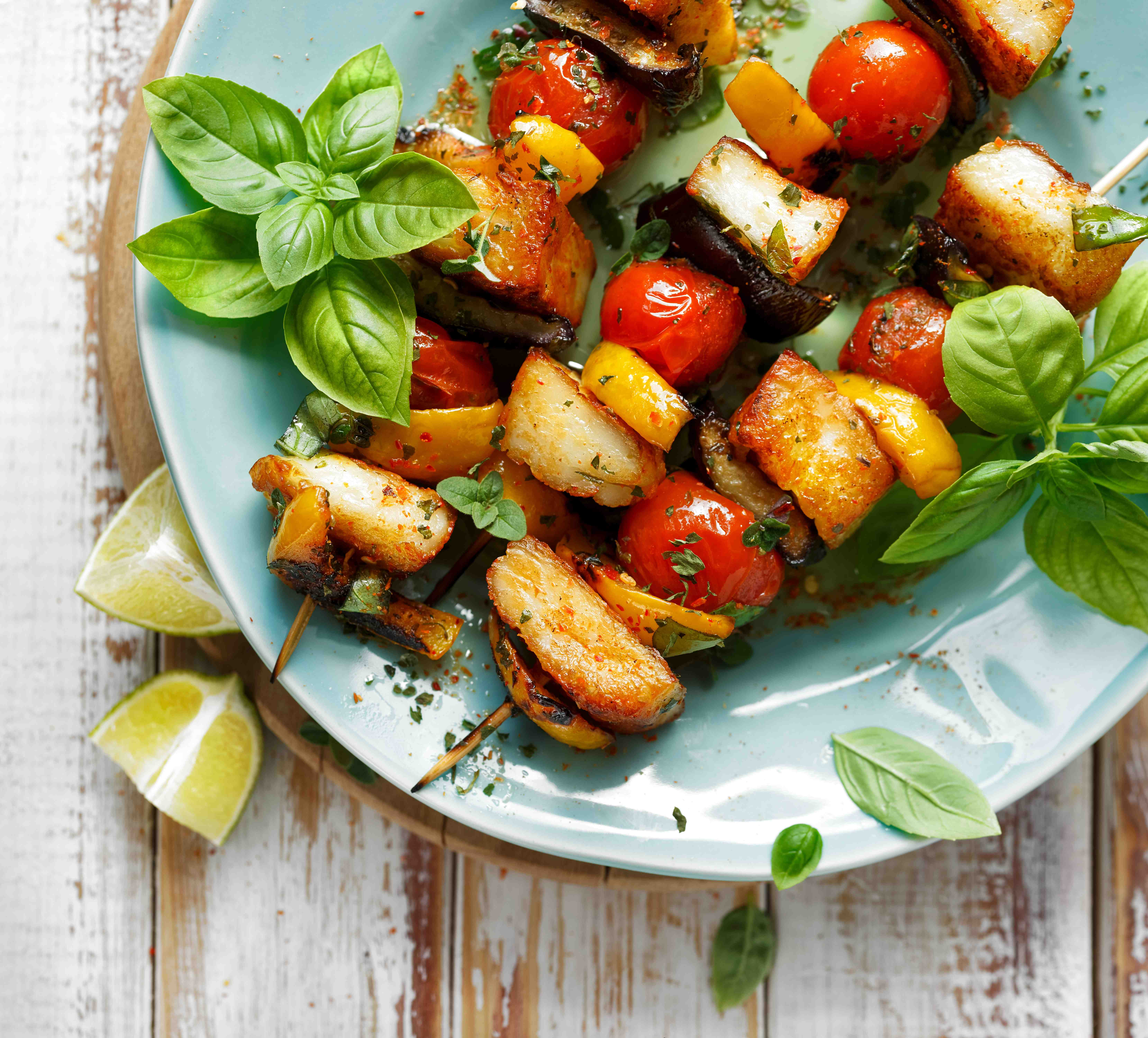 Halloumi and vegetable skewers compressed