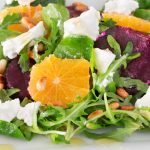 Roasted beet and goat cheese salad compressed