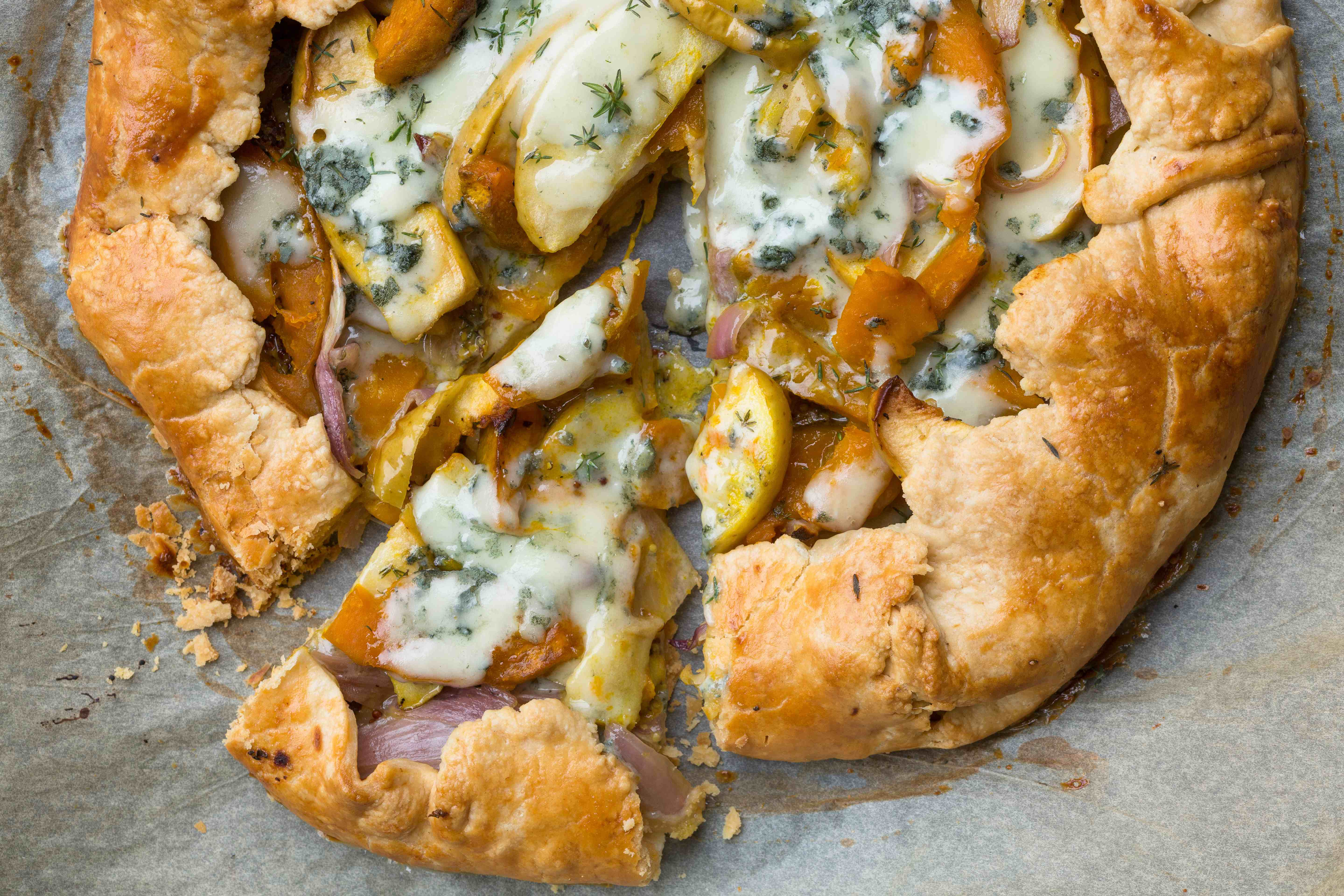Sweet Potato onion and Roquefort galette compressed