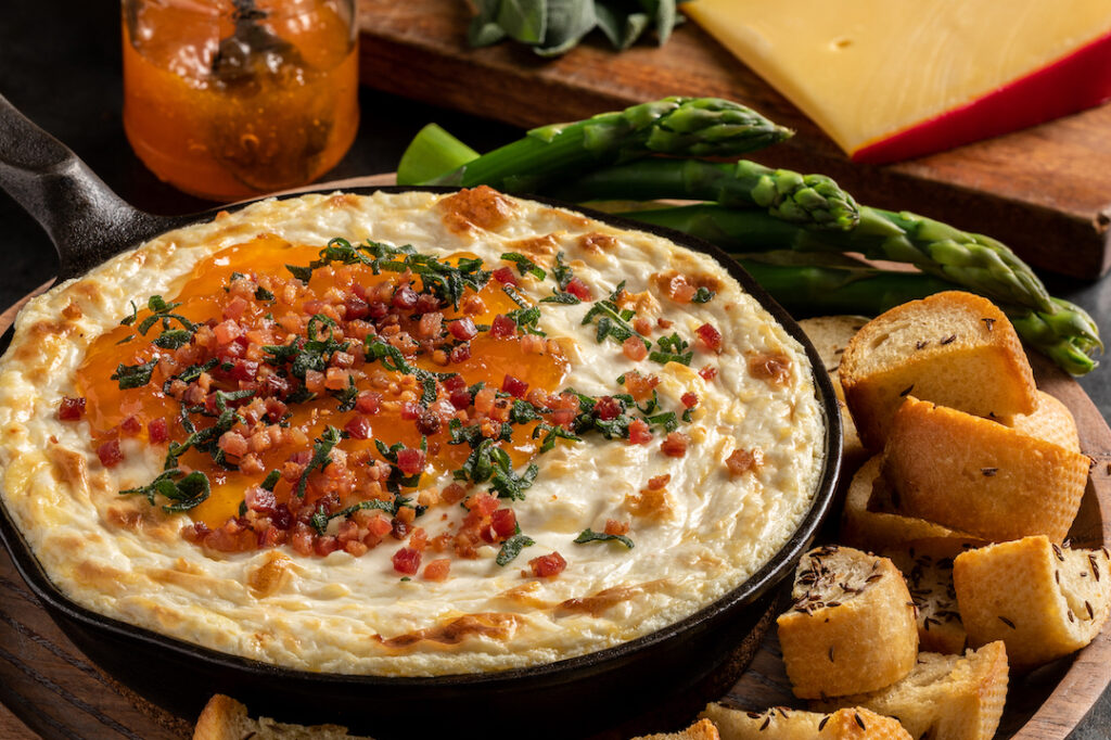 imported gouda, apricot and pancetta dip