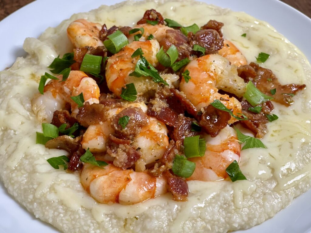 Shrimp Grits with imported Havarti